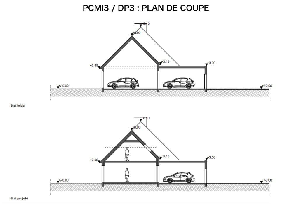 DP3 : plan de coupe - fenêtre de toit