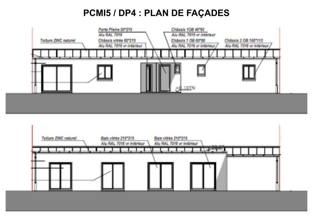 PCMI5 / DP4 : plan de façades - maison