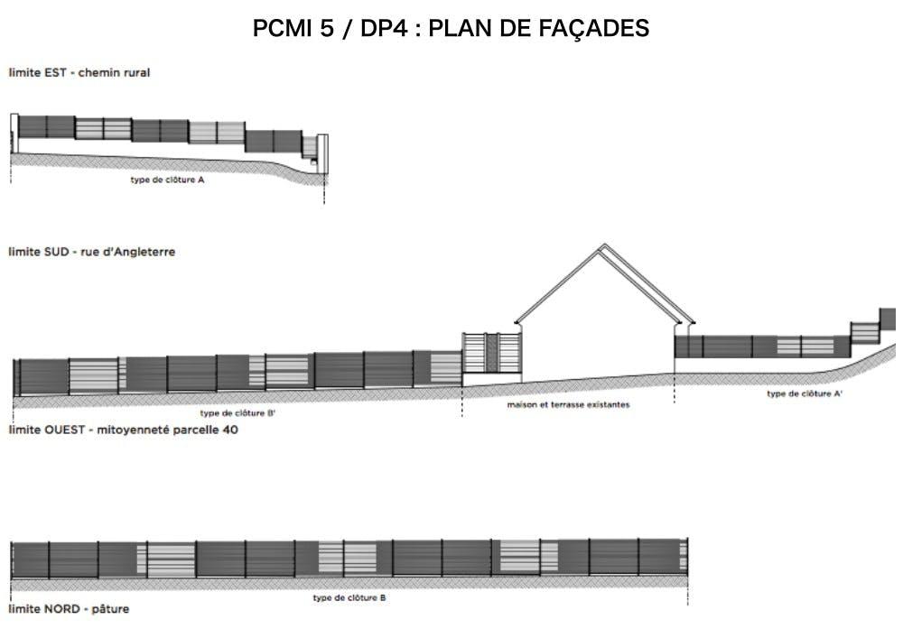 PCMI 5 : DP4 - PLAN DE FAÇADE - CLÔTURE ET PORTAIL