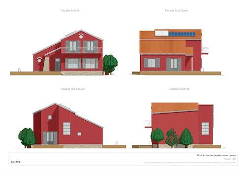 Plan de façade après-projet coloré