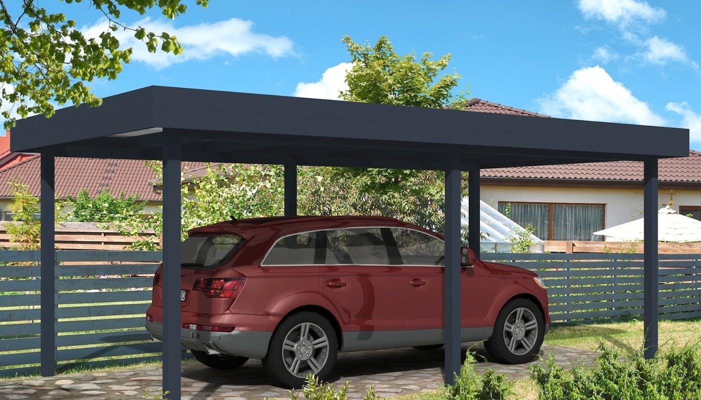 carport en aluminium noir et voiture bordeaux en dessous