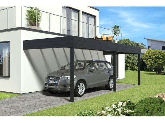 carport en métal avec voiture Audi grise en dessous