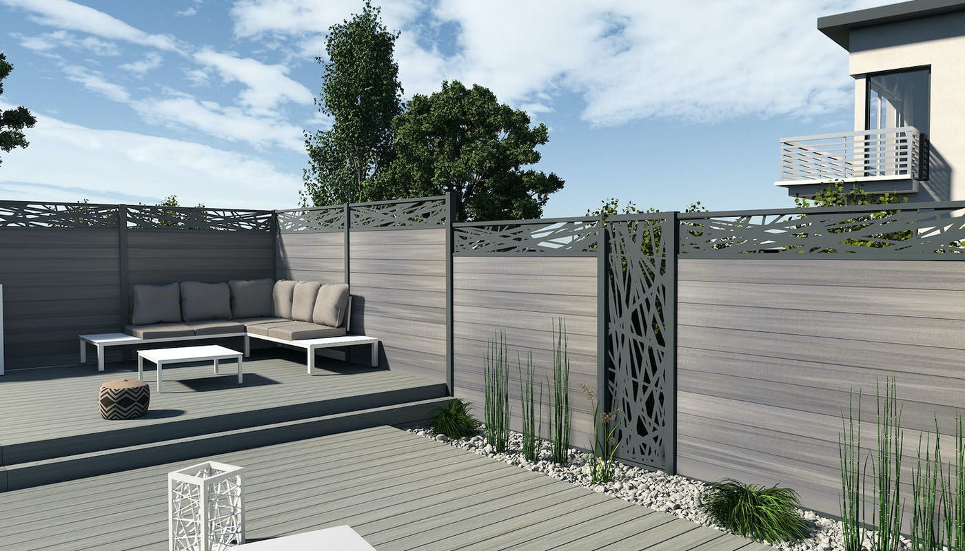 clôture et terrasse modernes en bois composite