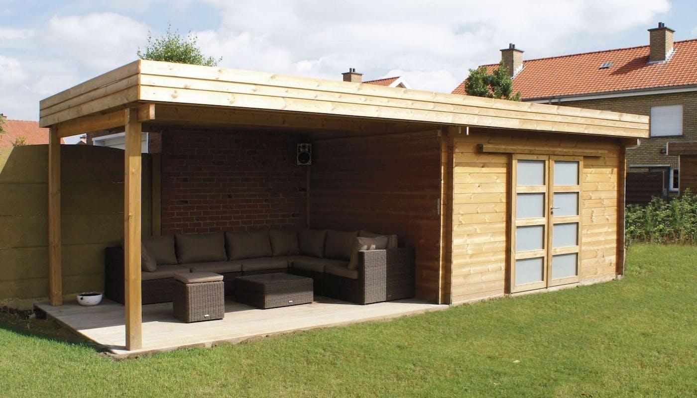 abri de jardin à toit plat en bois