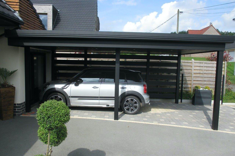 carport en pic noir avec une voiture en dessous