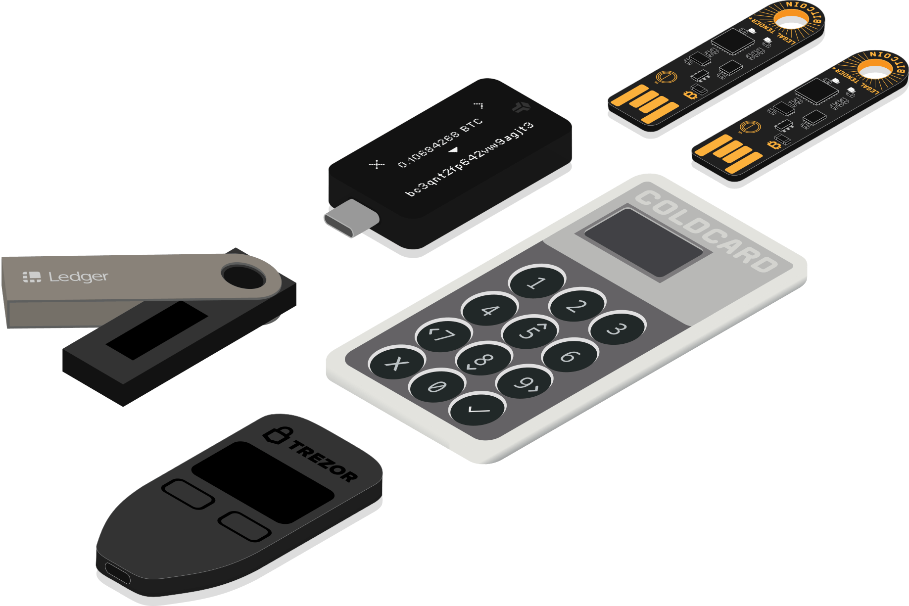 bitcoin hardware wallets (from left to right: trezor one, ledger nano s, coldcard mk3, bitbox02, two opendimes)
