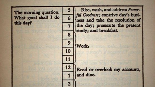 Benjamin Franklin's productivity journal