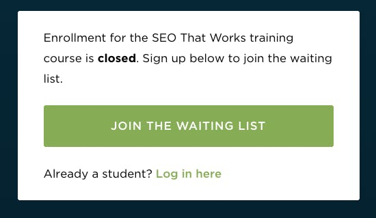 Enrollment is closed modal - product launch example