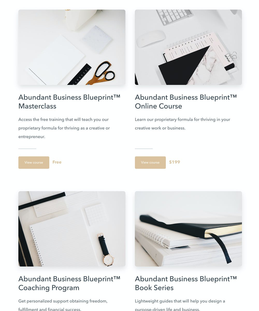 Aja Edmond's storefront - Evergreen courses example