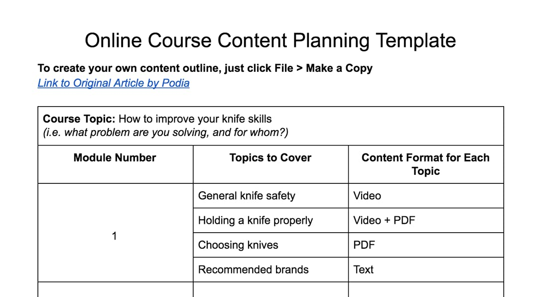 Online Course Content Planning Template