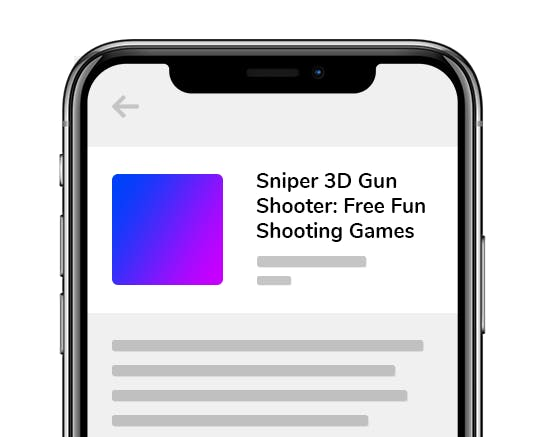 Example of a game with keywords included into the App Name: Sniper 3D Gun Shooter: Free Fun Shooting Games