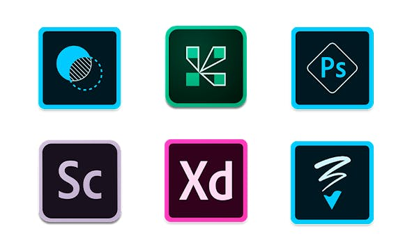 Icons from Adobe apps on Google Play Store