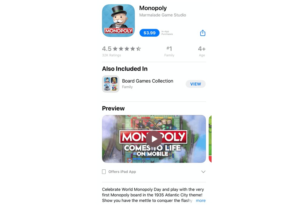 Monopoly uses a landscape app preview video for its mobile game