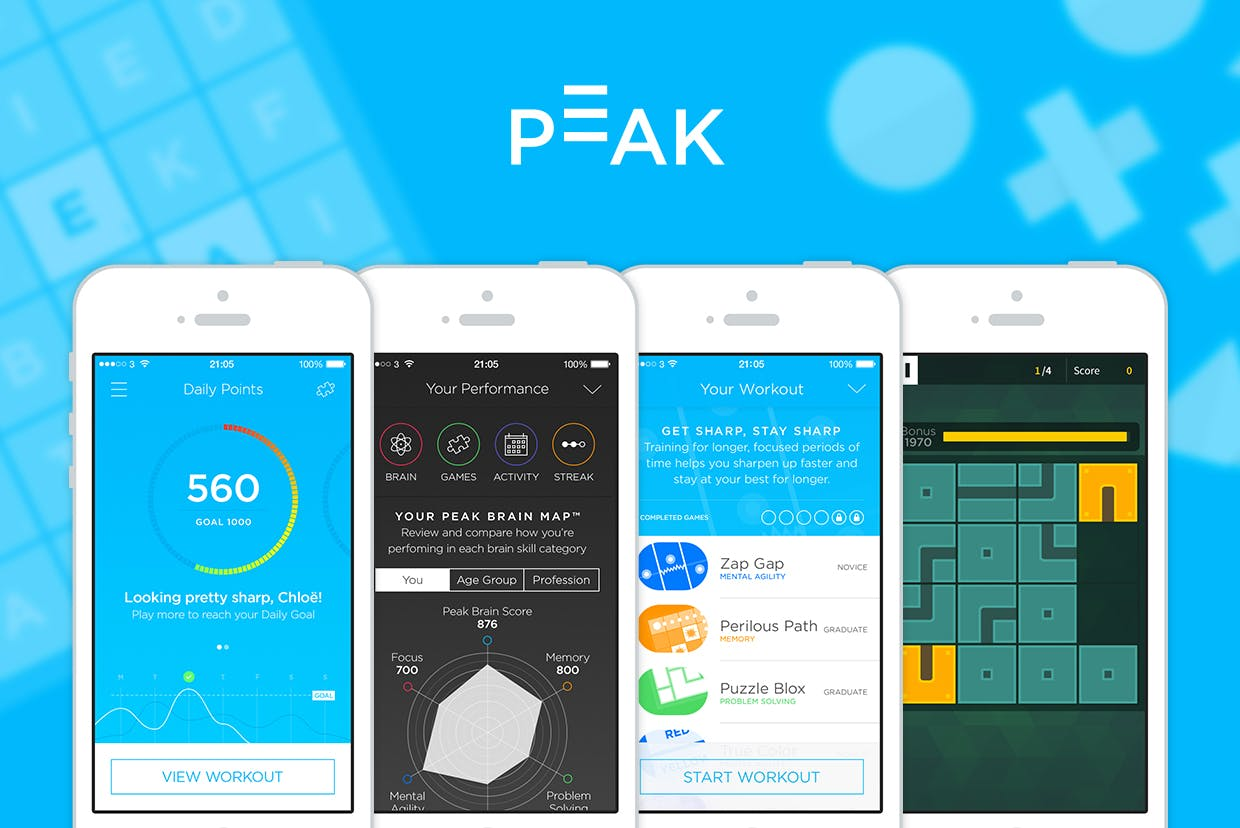 Peak's games are designed to push users hard with short, intense workouts designed around daily life. They challenge skills like focus, memory, problem solving and mental agility.