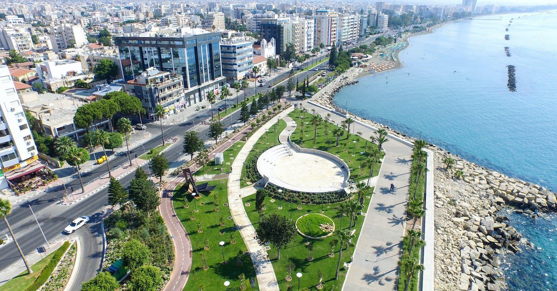 Promenade (molos) limassol Cyprus. Aerial photo of Limassol centre