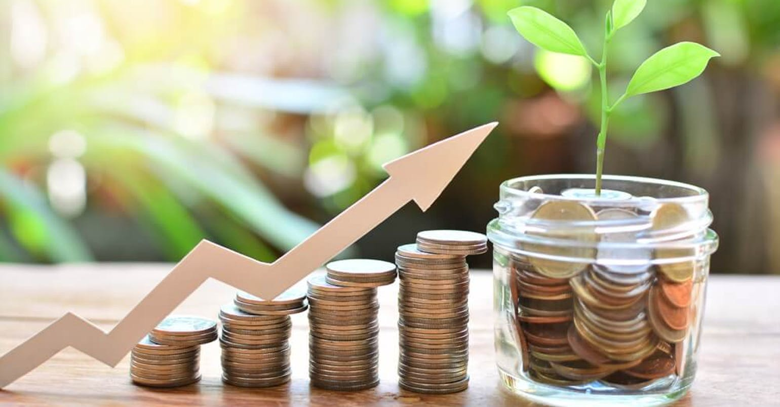 Money saving setting growth up increase to interest for concept investment fund finance and business