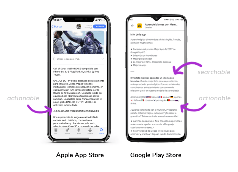 Call of Duty®: Mobile description field on App Store VS. Learn Languages with Memrise - Spanish, French… description field on Google Play