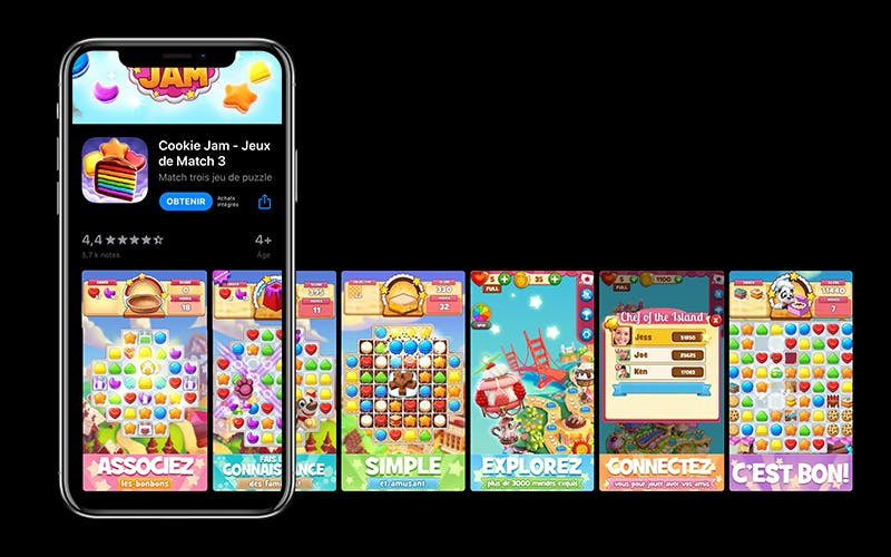 Screenshots of the mobile game Cookie Jam