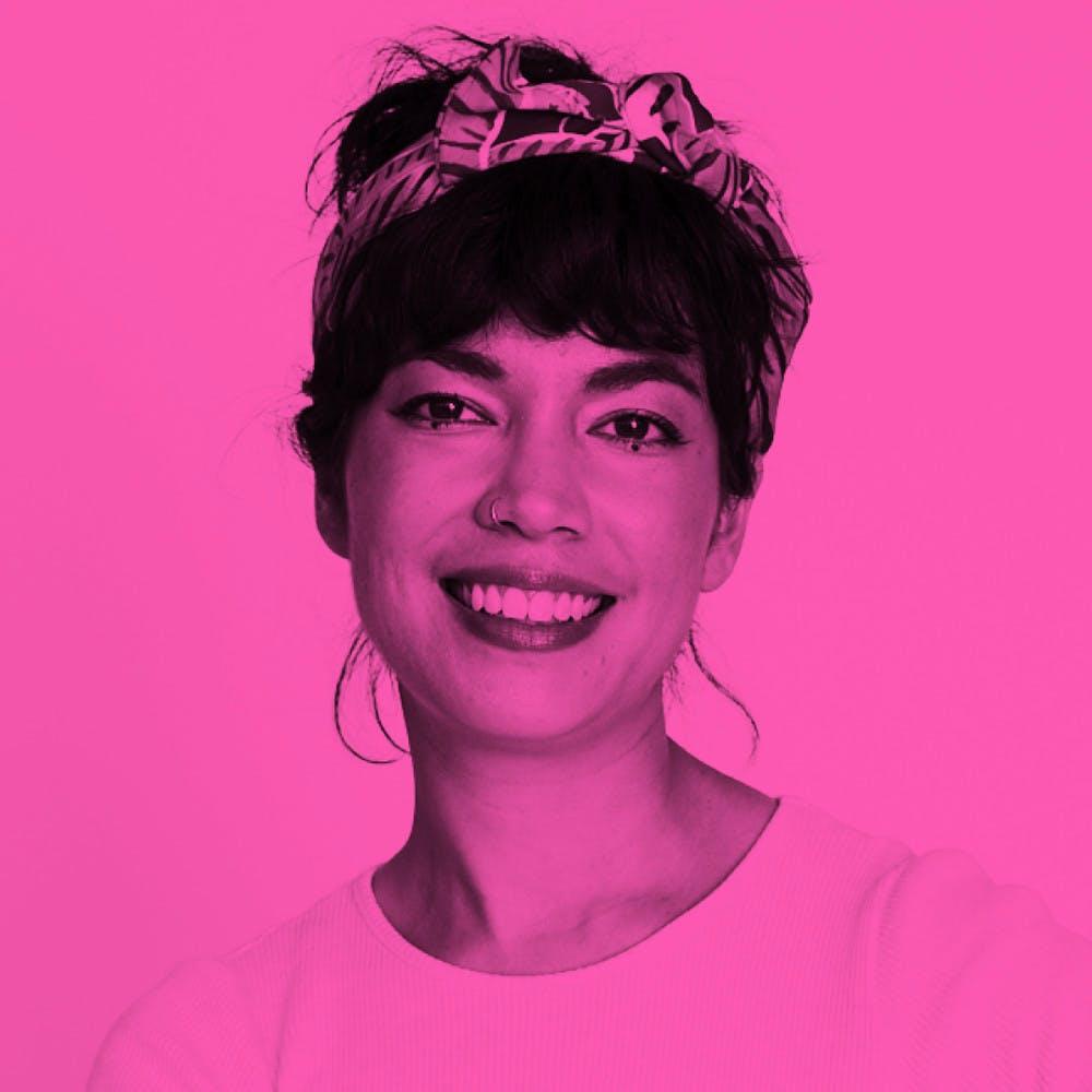 Photo of Sarah Kaur with pink filter