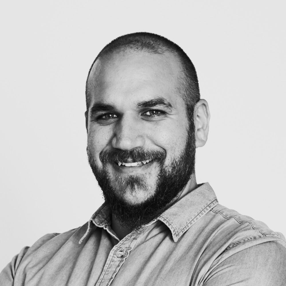 Photo of Joe Sciglitano with a black and white filter