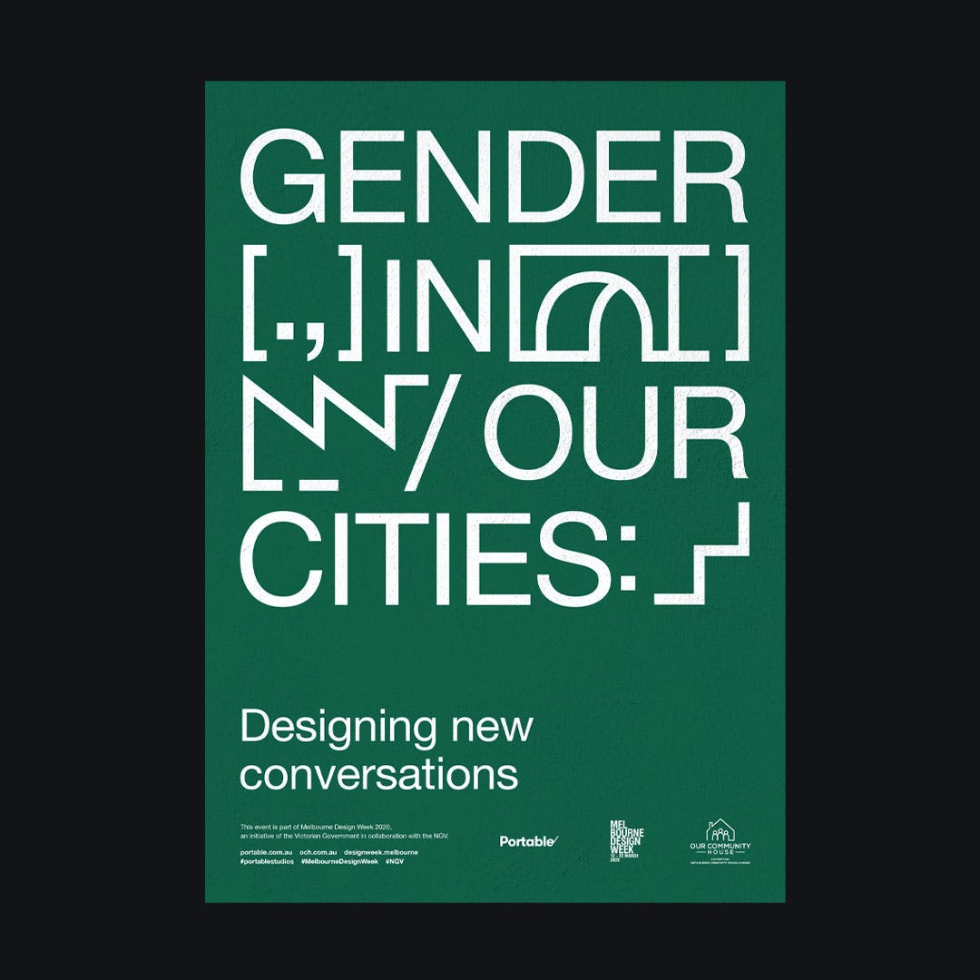 Gender in our Cities poster on black background with the subtitle 'Designing new conversations'