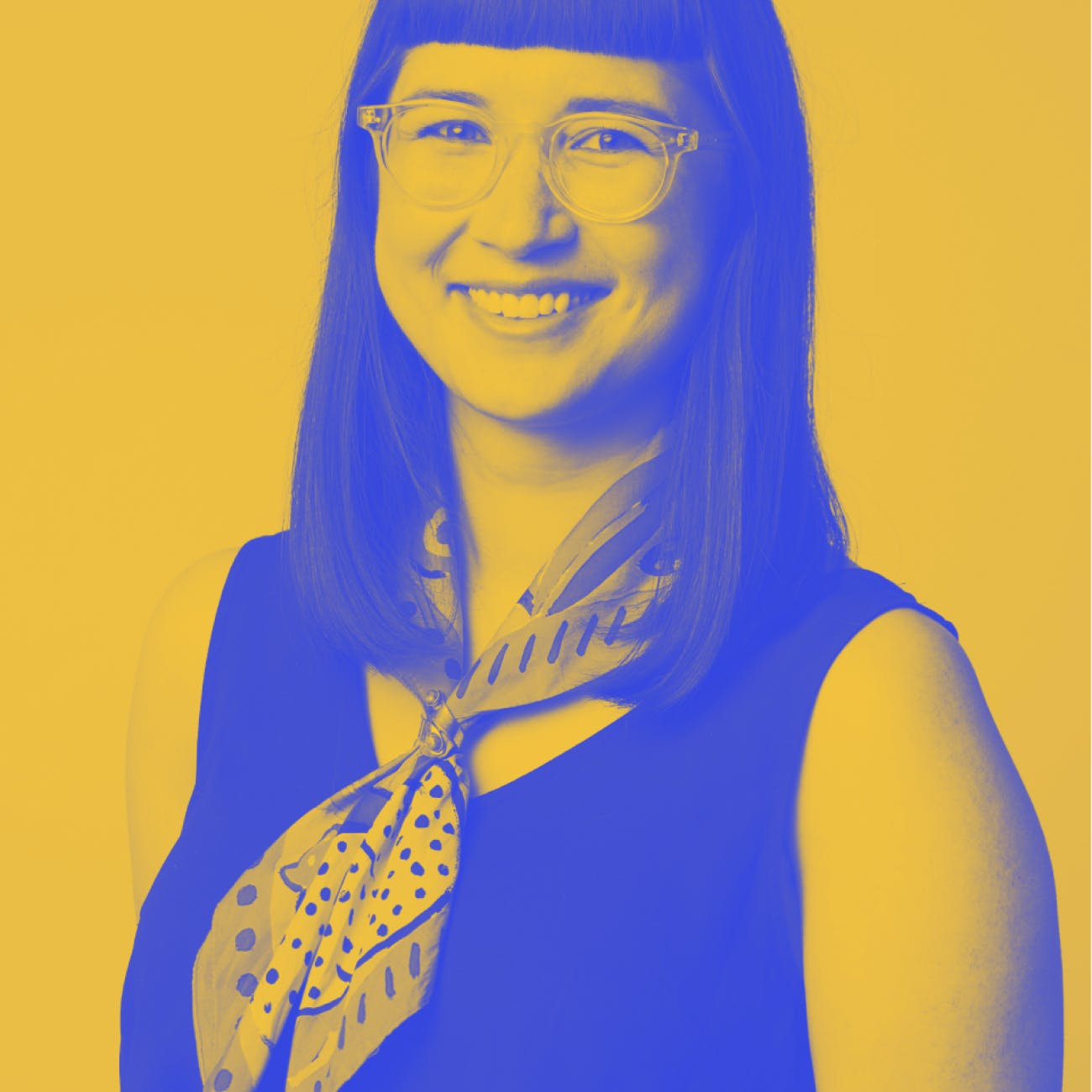 Photo of Libby de Souza with a yellow and blue filter
