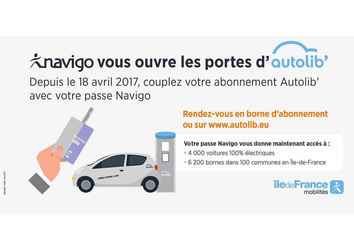 Infographie annoncant la possibilité de coupler un abonnement Autolib' avec le Passe Navigo