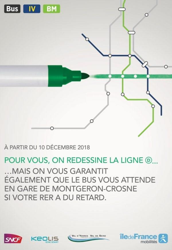 Tracé de la ligne de bus entre la Gare de Montgeron et les lignes IV et BM