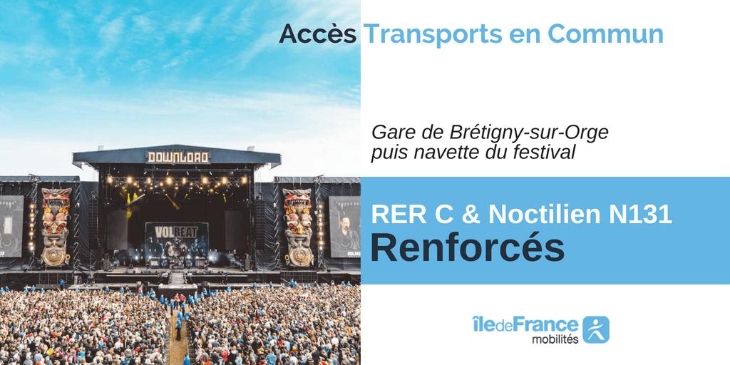 Infographie île-de-France mobilité : Accès aux transports en commun pour le Festival Download
