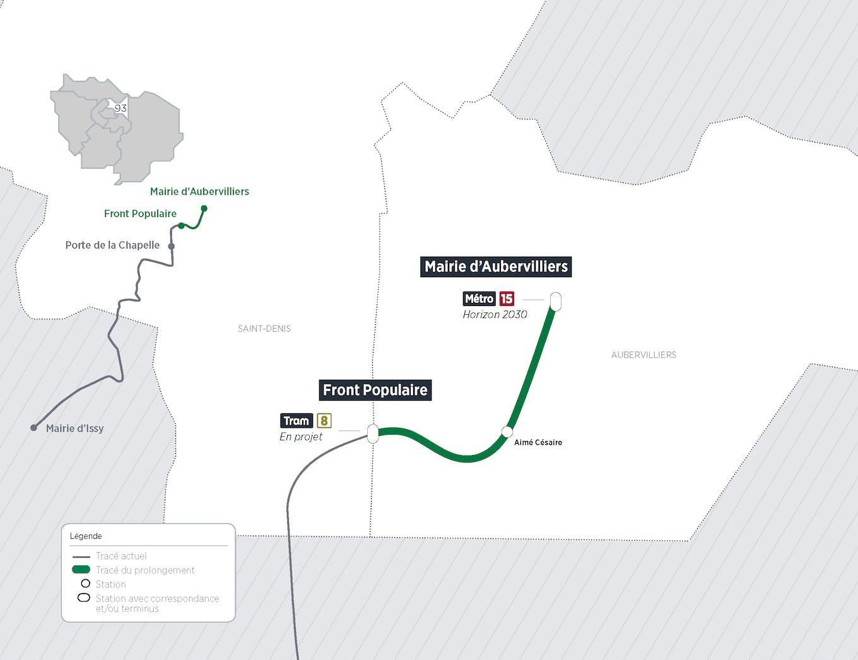 Plan du projet Métro ligne 12 Prolongement Front Populaire > Mairie d'Aubervilliers