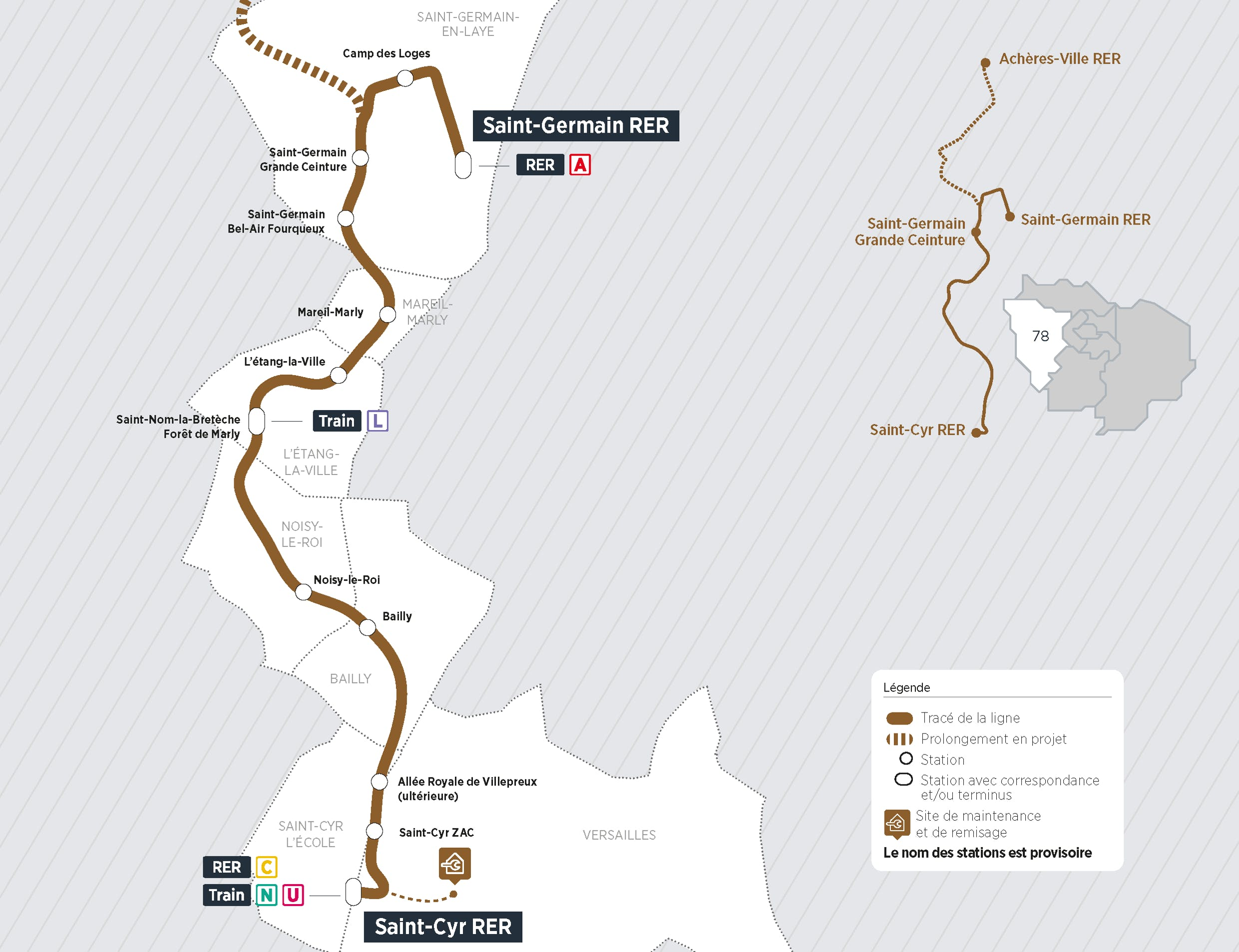 Plan du projet Tram ligne 13 Nouvelle ligne Saint-Cyr > Saint-Germain