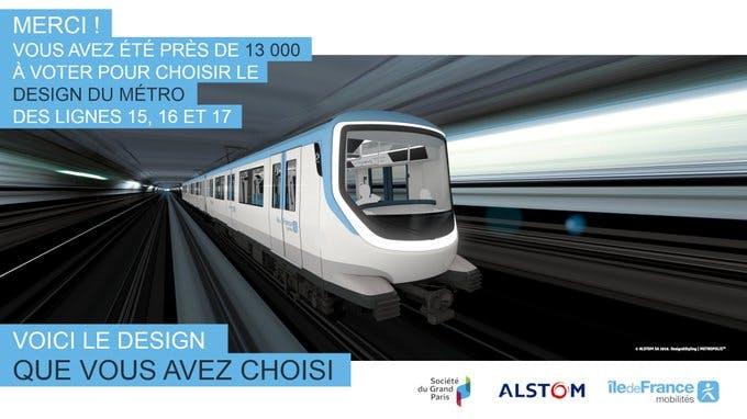Le design métro choisi par les voyageurs pour les lignes de métro 15, 16 et 17