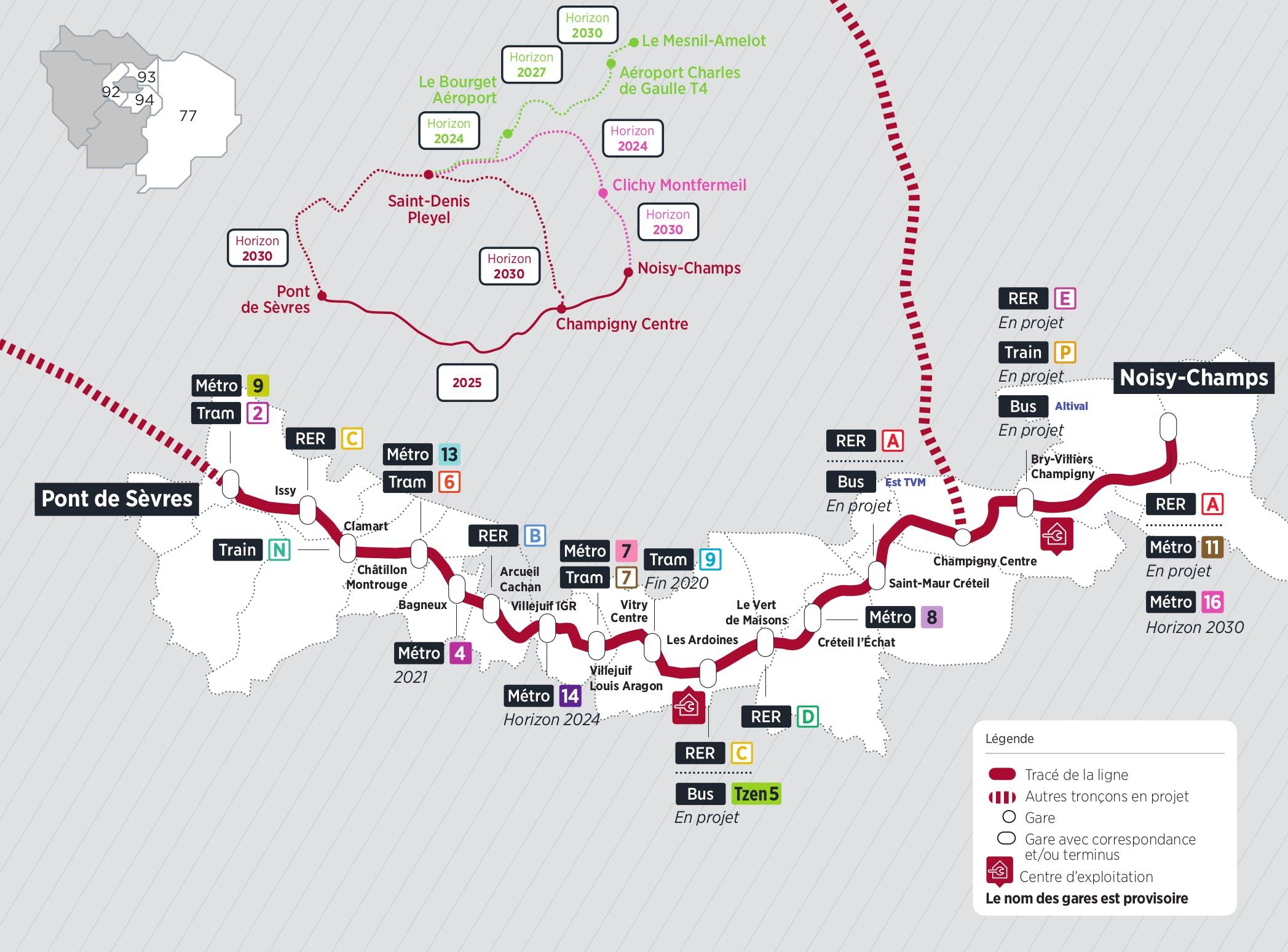 Plan du projet Métro ligne 15 Nouvelle ligne Pont de Sèvres > Noisy-Champs