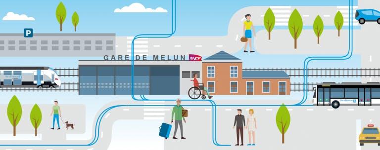 Infographie : L'espace de réaménagement de la gare de Melun
