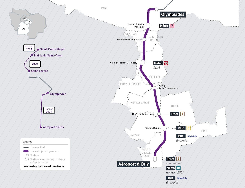 Plan du projet Métro ligne 14 Prolongement Olympiades > Aéroport d'Orly