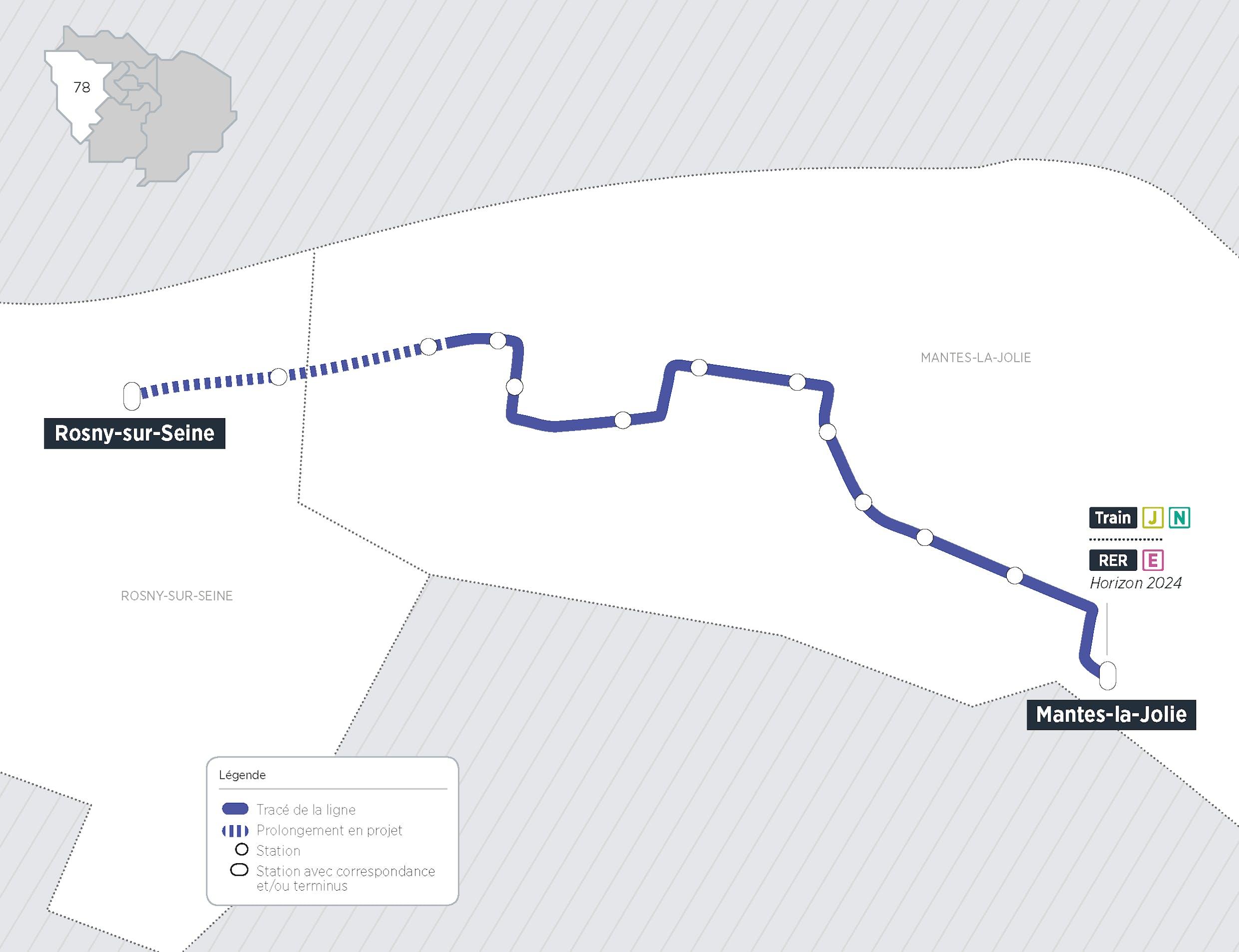 Plan du projet Bus Nouvelle ligne Rosny-sur-Seine > Mantes-la-Jolie