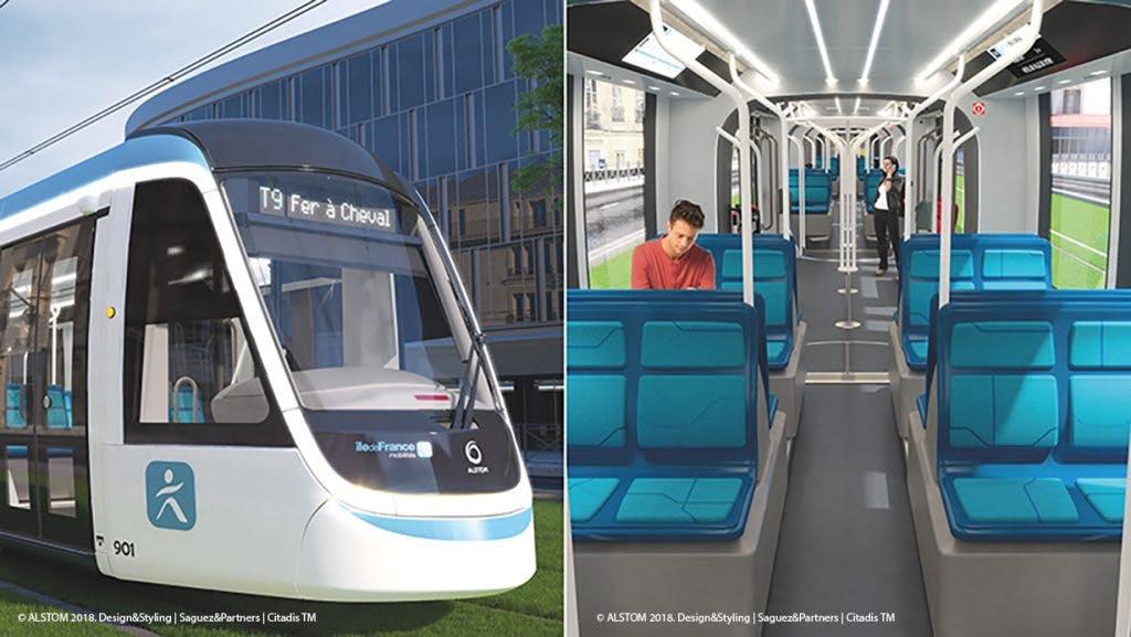 Tram 9 : Illustration extérieur et l'intérieur avec des voyageurs
