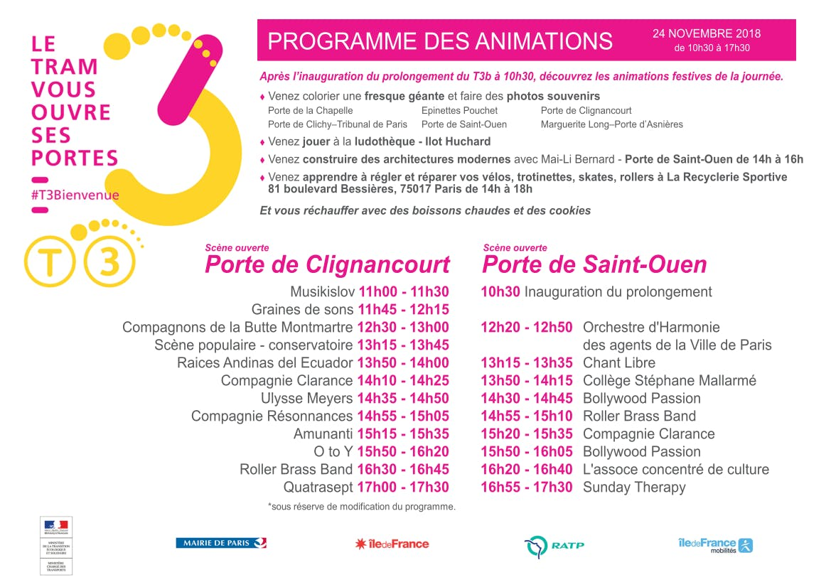 Infographie : Programme des animations