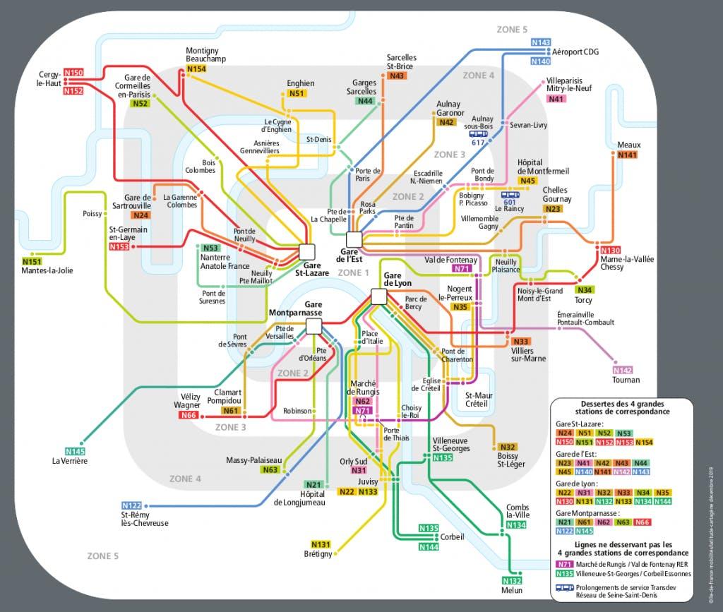 L'itinéraire des lignes de bus réseau Noctilien pendant la fête de la musique