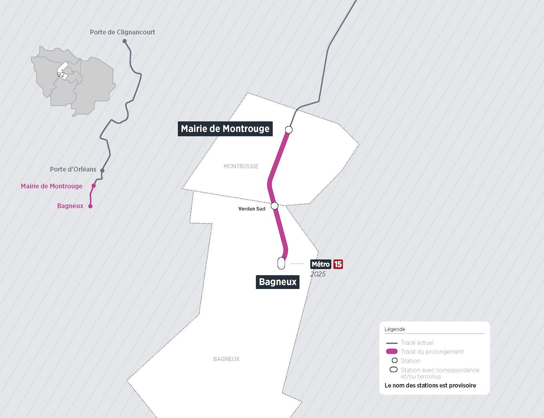 Plan du projet Métro ligne 4 Prolongement Montrouge > Bagneux