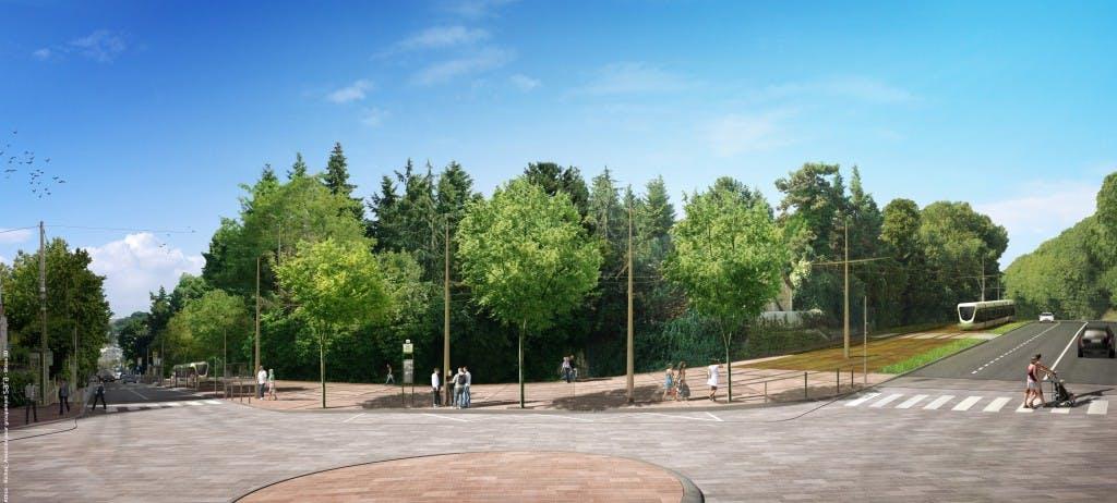 Perspective sur le passage tram 10 de Croix de Berny (Antony) à la Place du Garde (Clamart)
