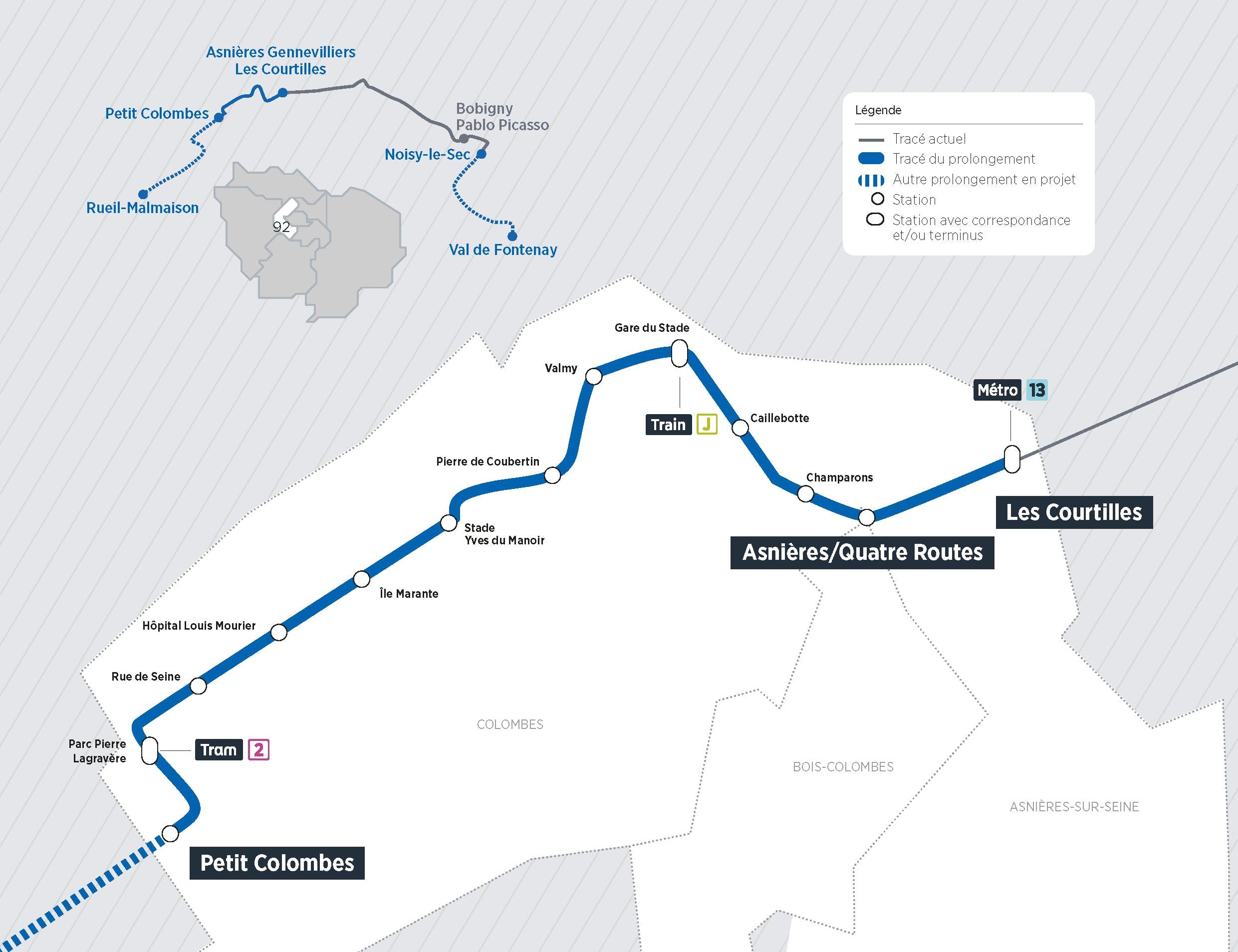 Plan du projet Tram ligne 1 Prolongement Asnières > Colombes