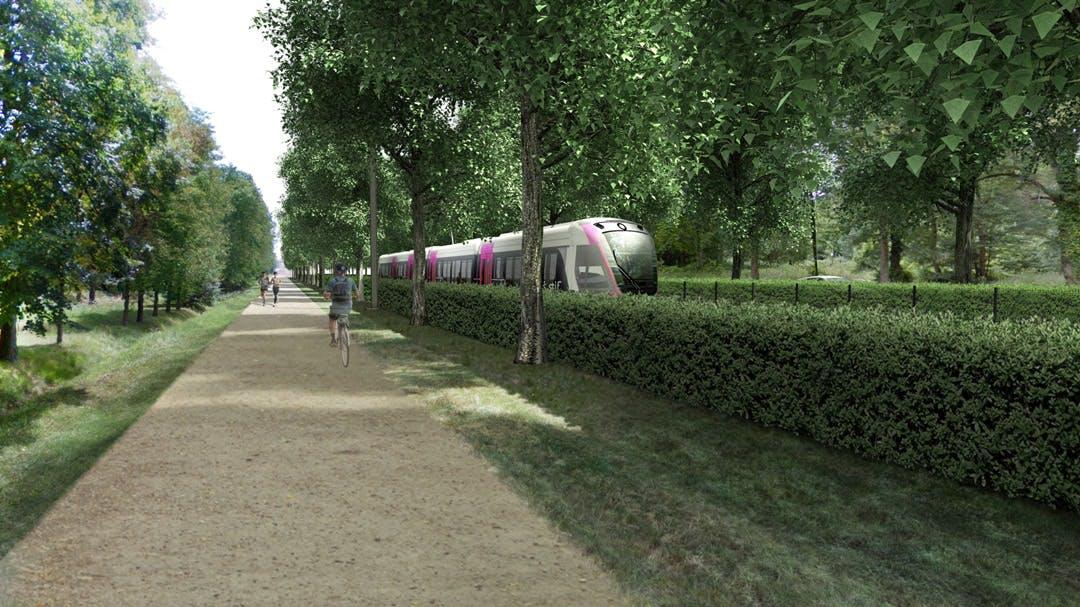 Passage train en espace vert