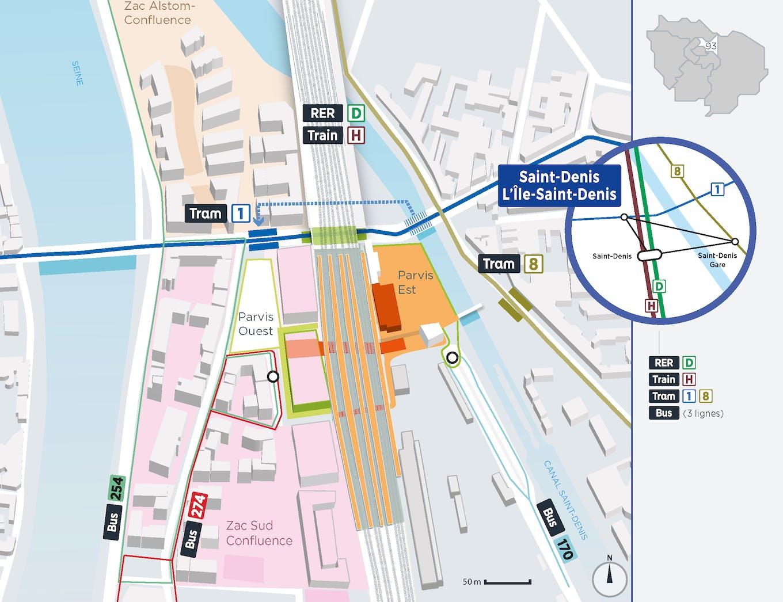 Plan du projet Pôle - Gare Réaménagement Pôle de Saint-Denis