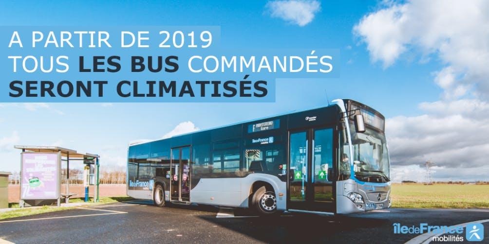 Nouveau bus climatiser à l'arrêt en île-de-France
