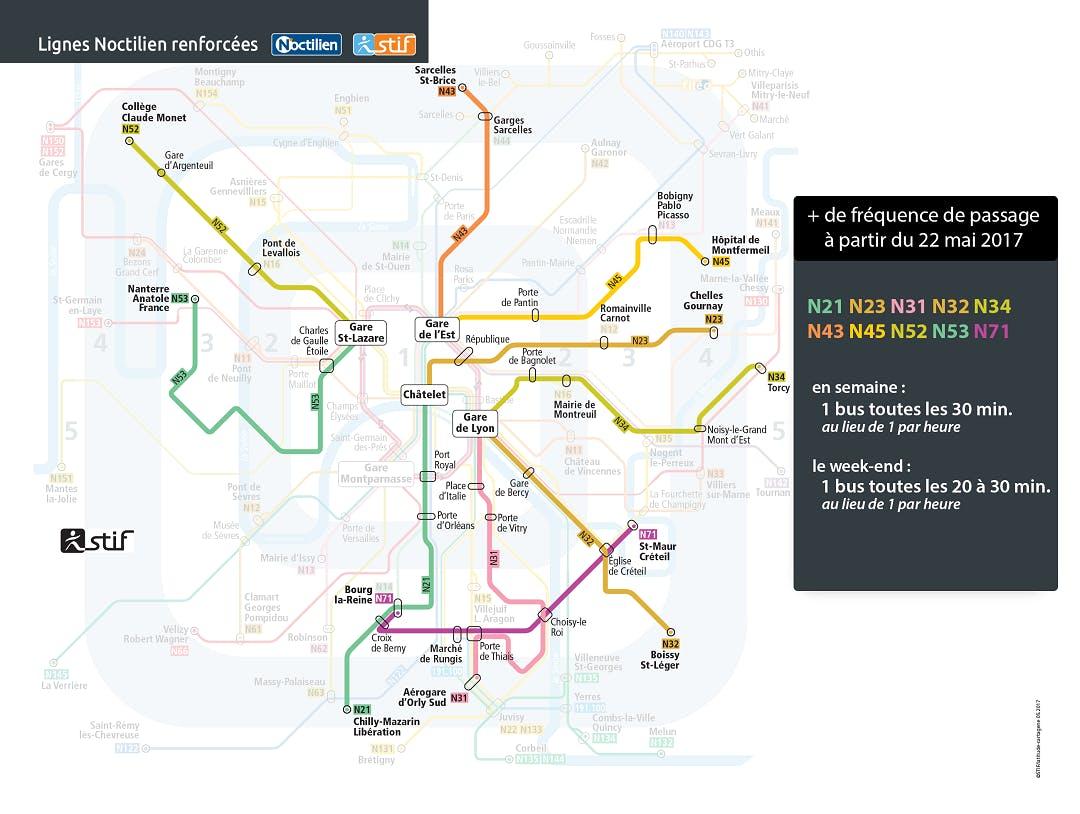 Infographie sur les lignes Noctilien renforcées (description ci-après)