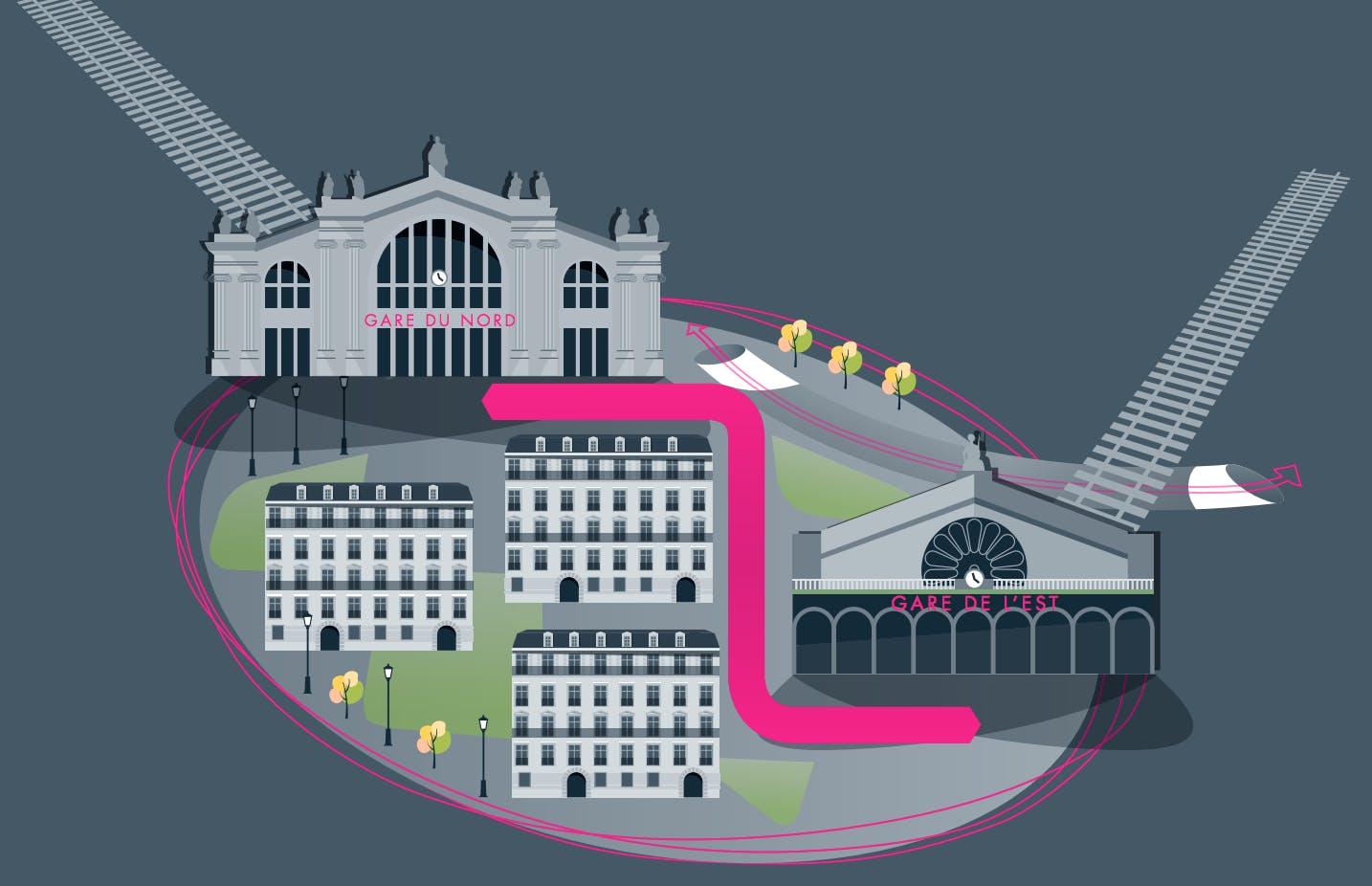 Infographie : Tracé de la liaison entre la Gare du nord et de l'est