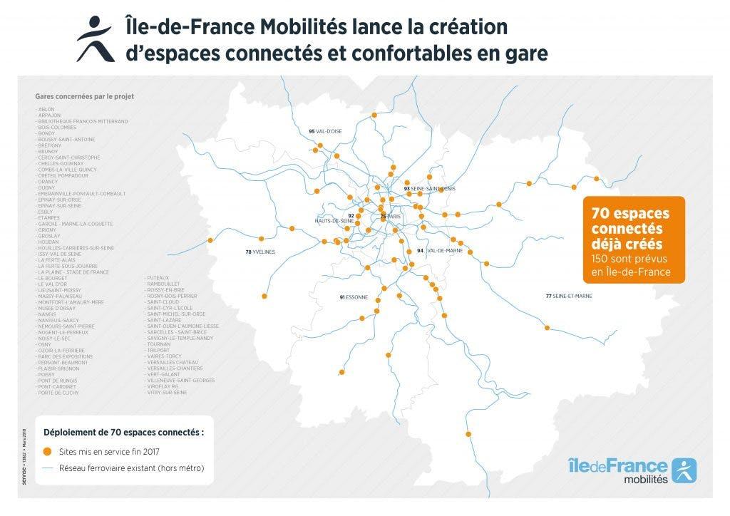 Infographie : Plan de déploiement des espaces connectés dans les gares d'Île-de-France