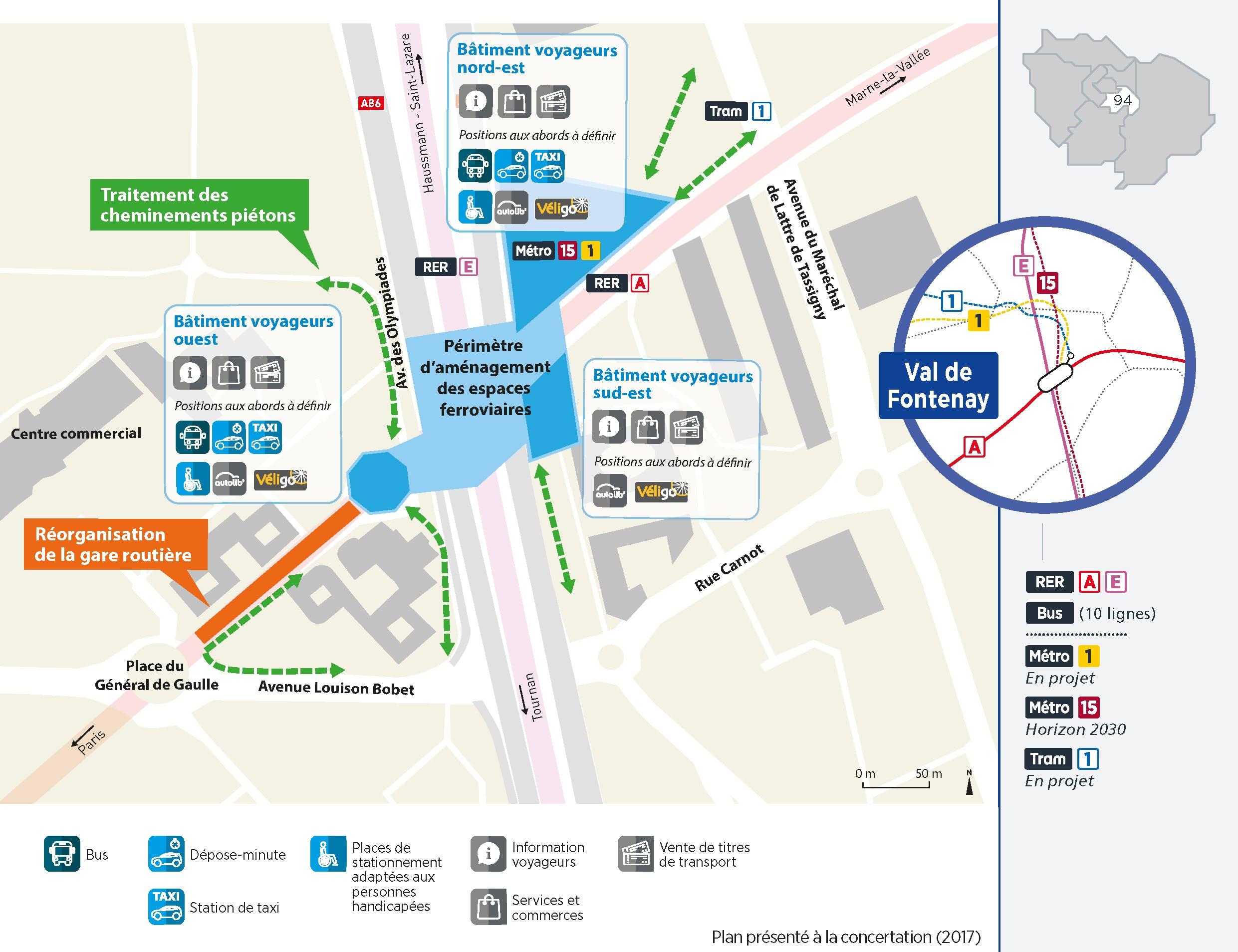 Plan du projet Pôle - Gare Réaménagement Pôle de Val-de-Fontenay
