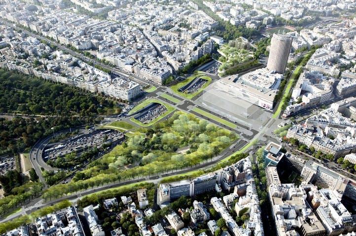 Vue d'en haut, Porte Maillot futur nœud de transport majeur de l'ouest de Paris